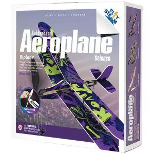 PLAYSTEAM Rubber Band Aeroplane Biplane STEM Kit