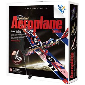 PLAYSTEAM Rubber Band Aeroplane Low Wing STEM Kit